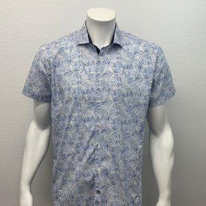 English Laundry White Blue Palm Floral Print Short Sleeve Cotton Shirt Large